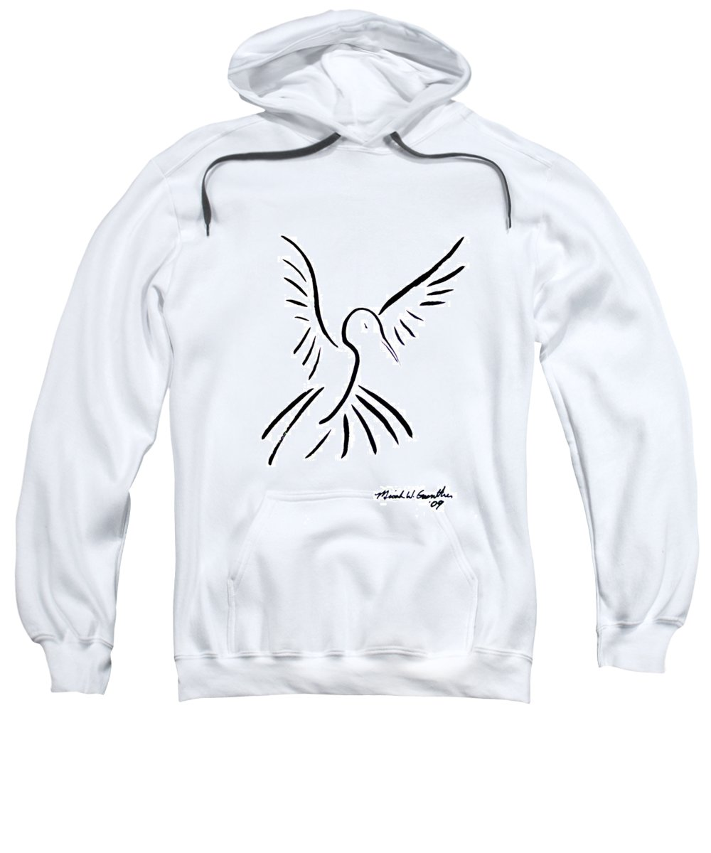 Bird Sweatshirt featuring the drawing Hummingbird by Micah Guenther