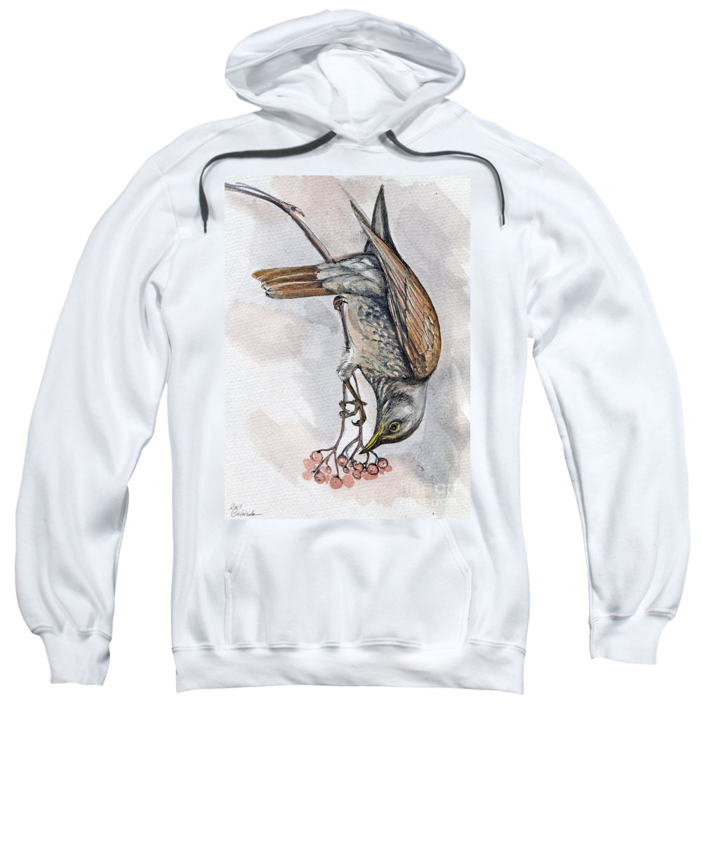 Bird Sweatshirt featuring the painting hungry Thrush 1 by Angel Ciesniarska