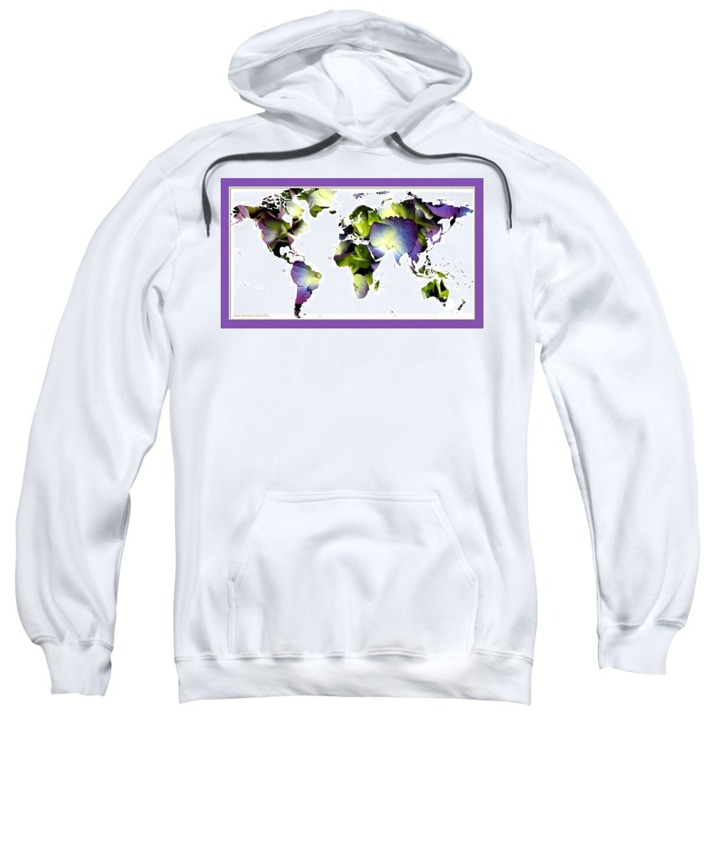 World Map Sweatshirt featuring the photograph Hydrangea World Map by Rose Santuci-Sofranko