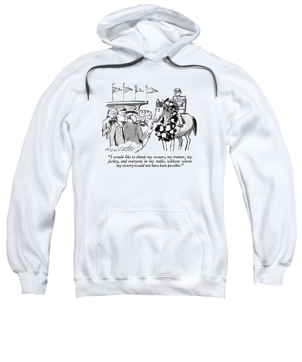 Sports Sweatshirt featuring the drawing I Would Like To Thank My Owners by Mischa Richter