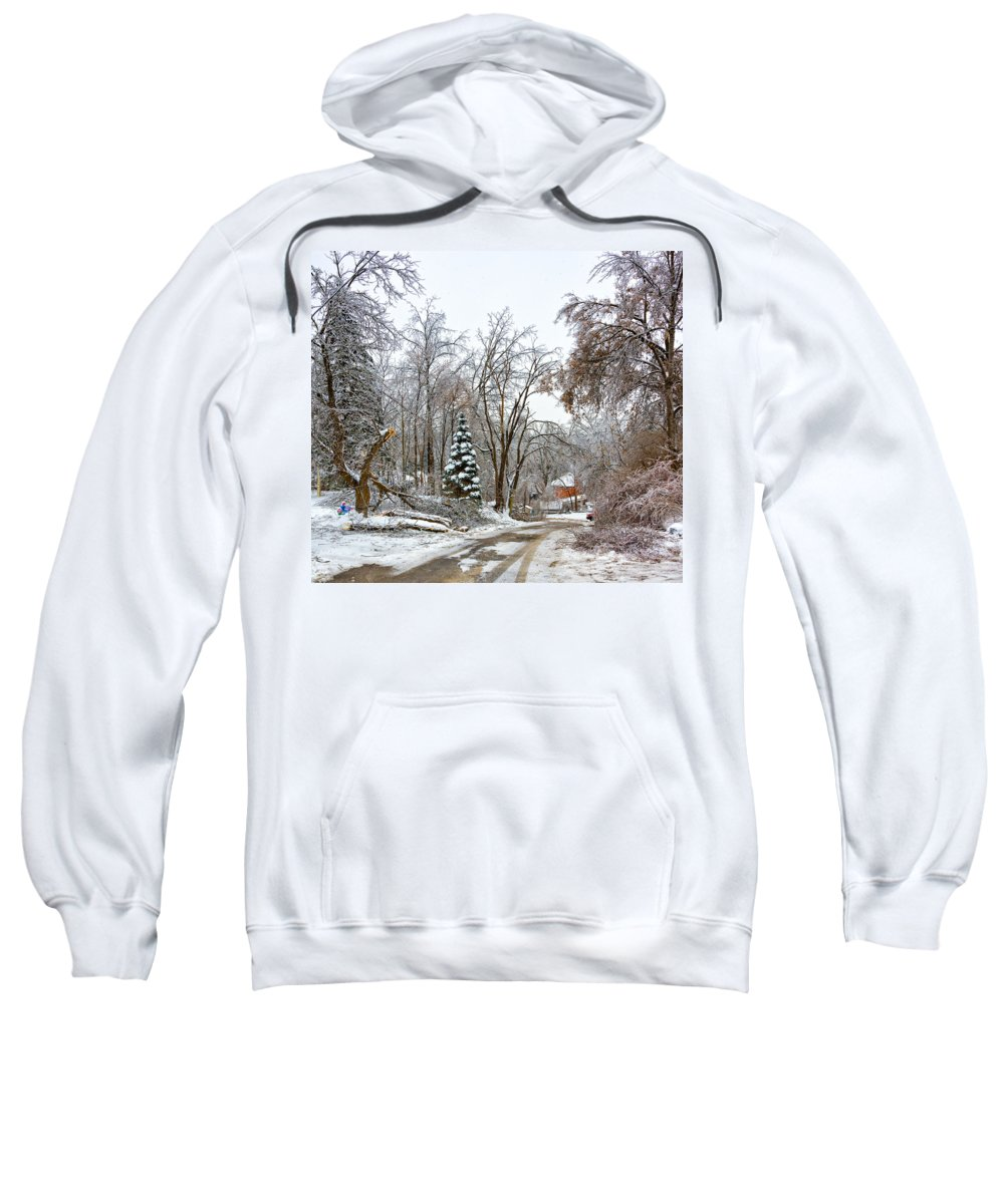 Steve Harrington Sweatshirt featuring the photograph Ice Storm...day 6 by Steve Harrington