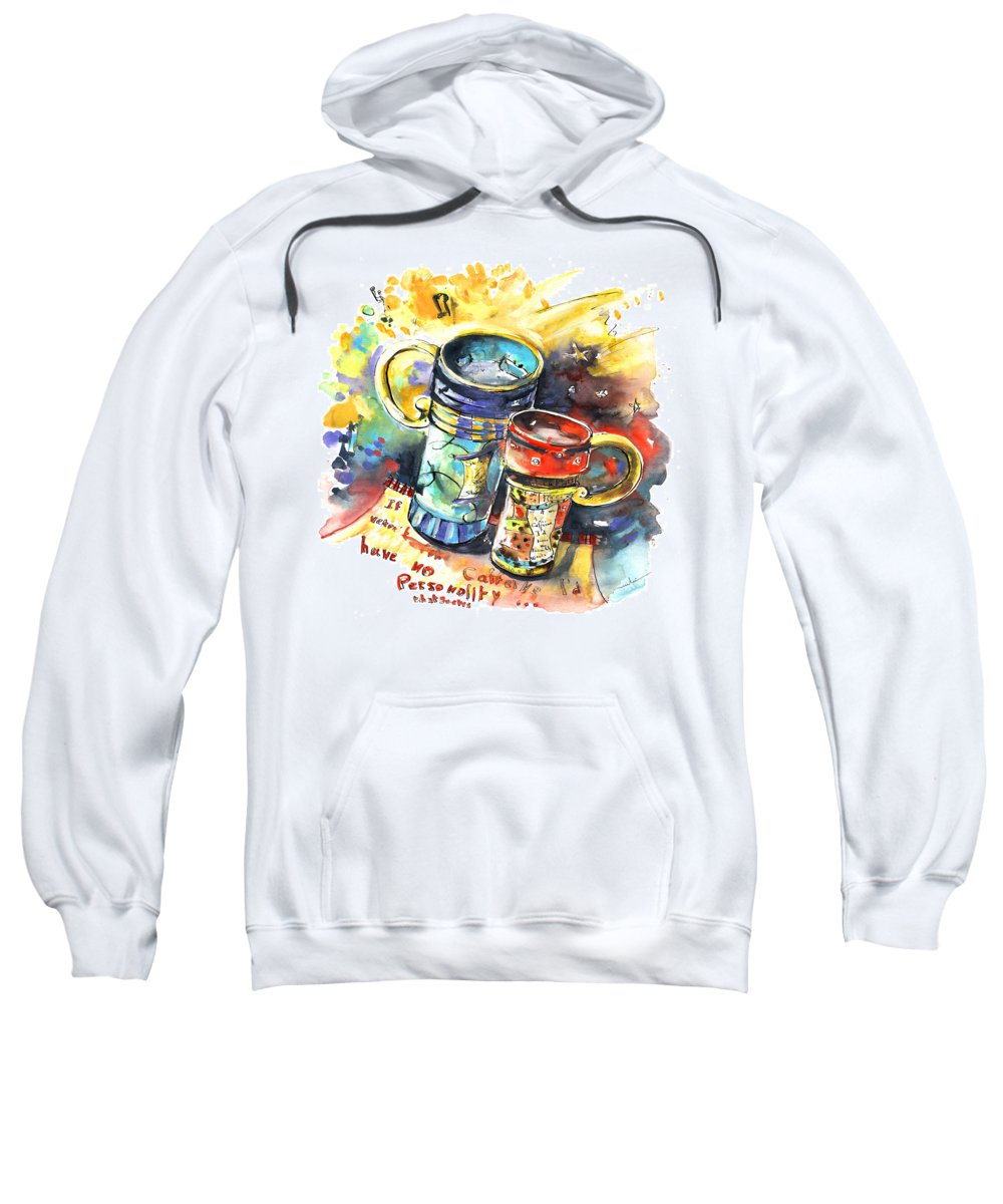 Cafe Crem Sweatshirt featuring the painting If It Were Not For Caffeine by Miki De Goodaboom