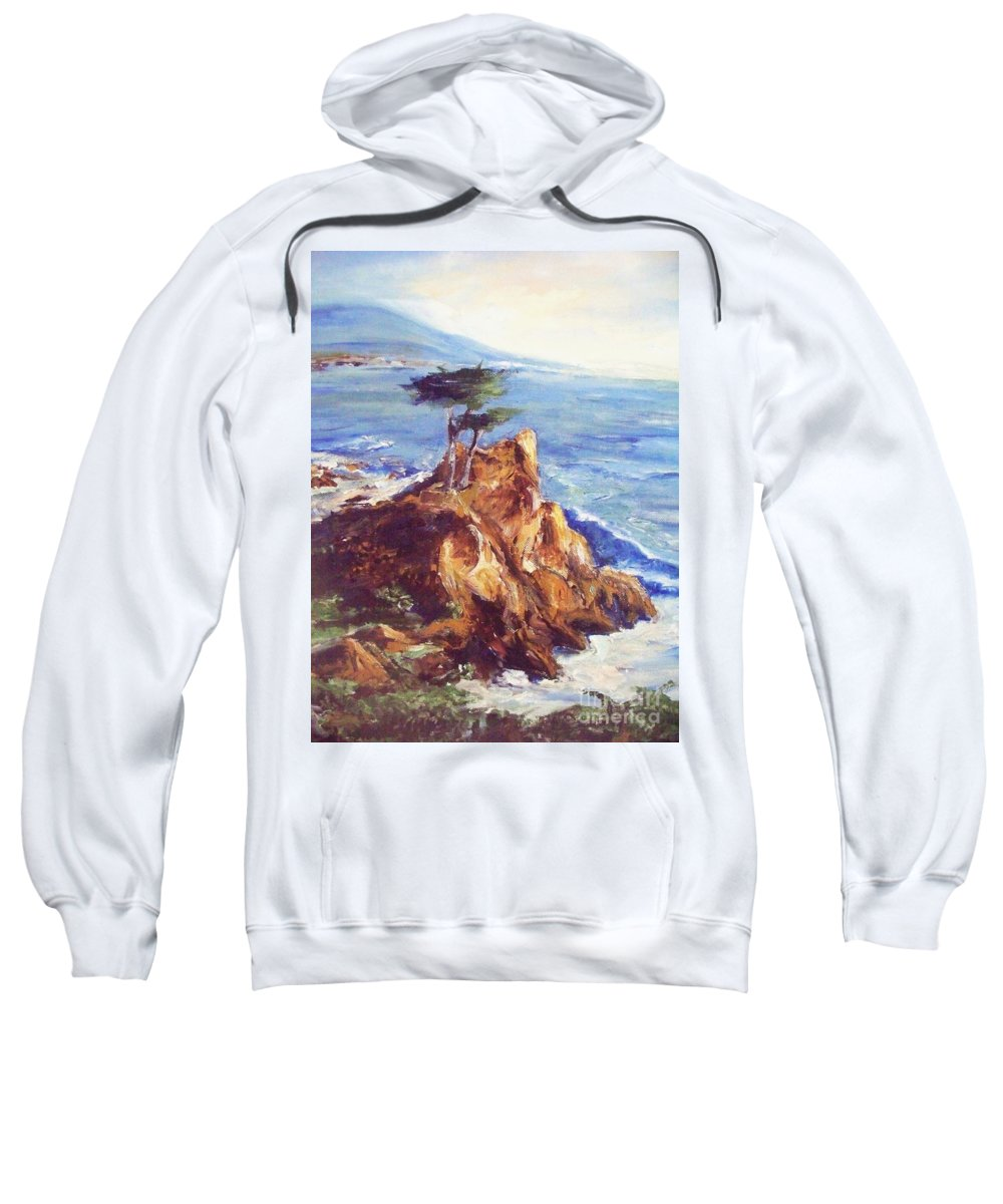Seascape Sweatshirt featuring the painting Imaginary Cypress by Eric Schiabor