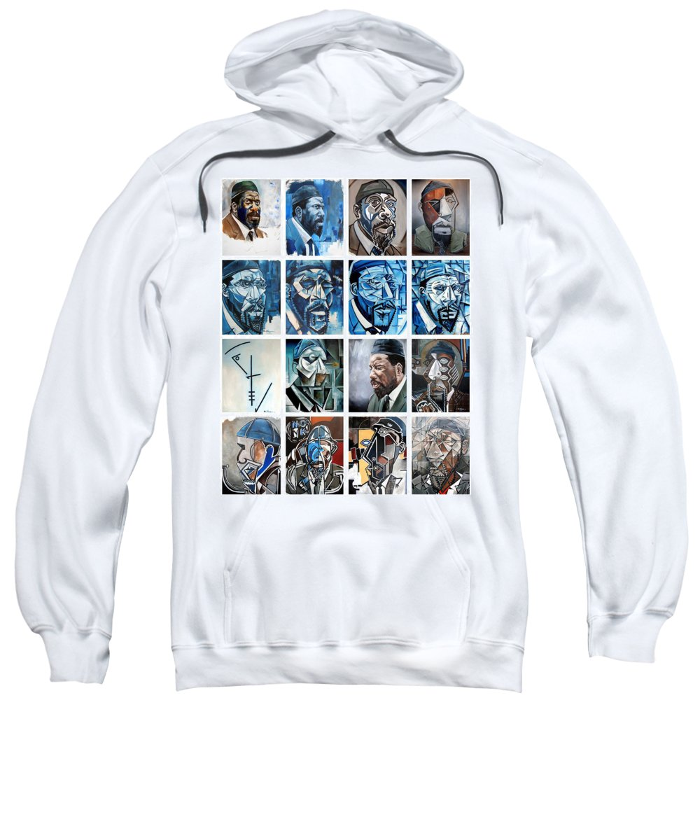 Jazz Piano Thelonious Monk Portrait Cubism Abstract Sweatshirt featuring the painting Improvised Metamorphoses by Martel Chapman