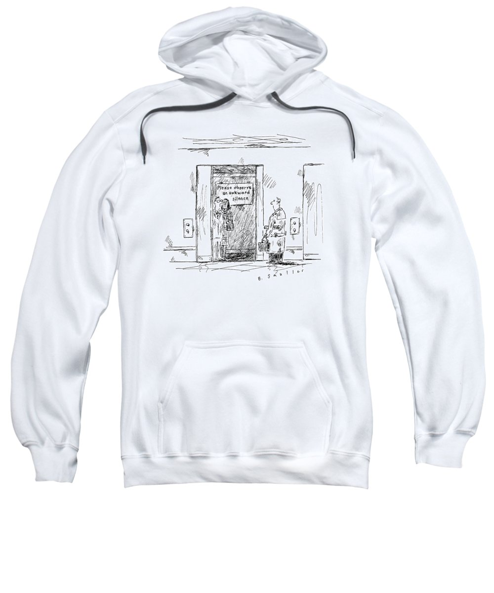 Captionless Elevator Sweatshirt featuring the drawing In An Elevator A Sign Reads by Barbara Smaller