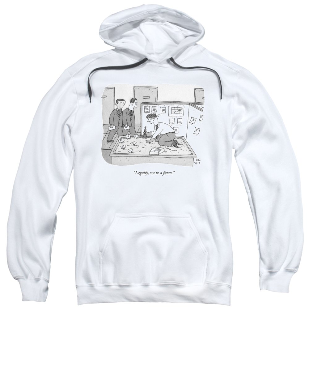 Cctk Sweatshirt featuring the drawing In An Office by Peter C. Vey