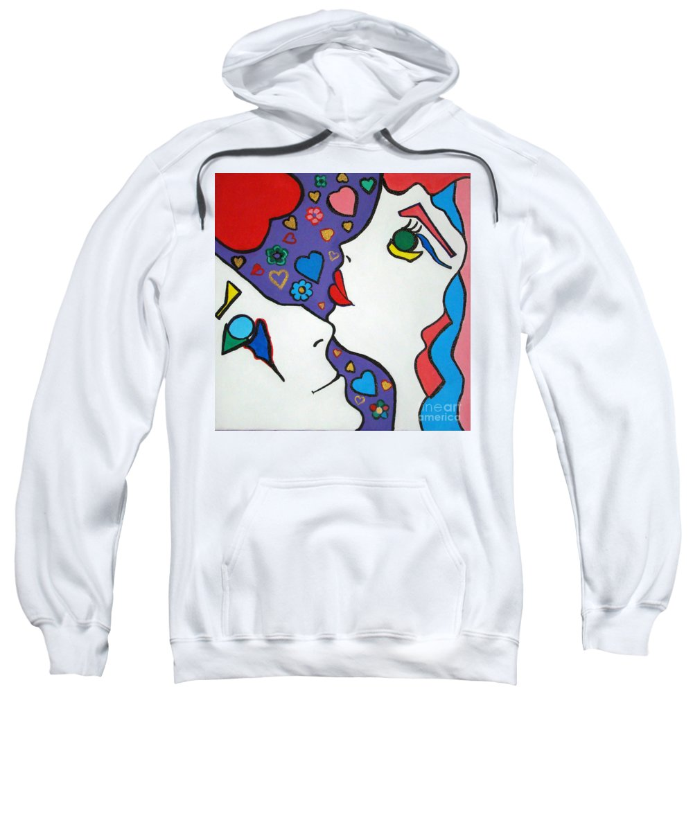 Pop-art Sweatshirt featuring the painting In Love by Silvana Abel