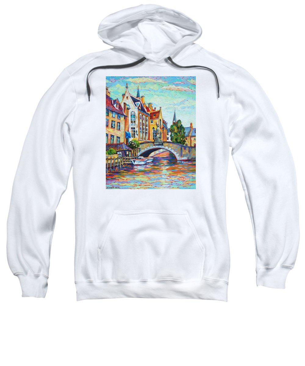Cityscape Sweatshirt featuring the painting In Old Europe by Elizabeth Elkin