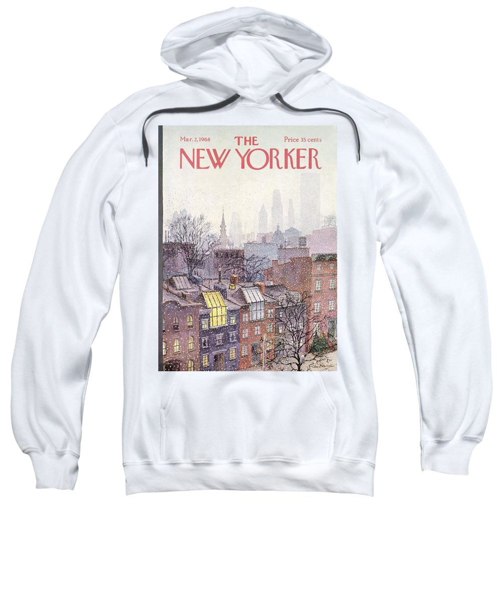 Albert Hubbell Ahu Sweatshirt featuring the painting New Yorker March 2, 1968 by Albert Hubbell