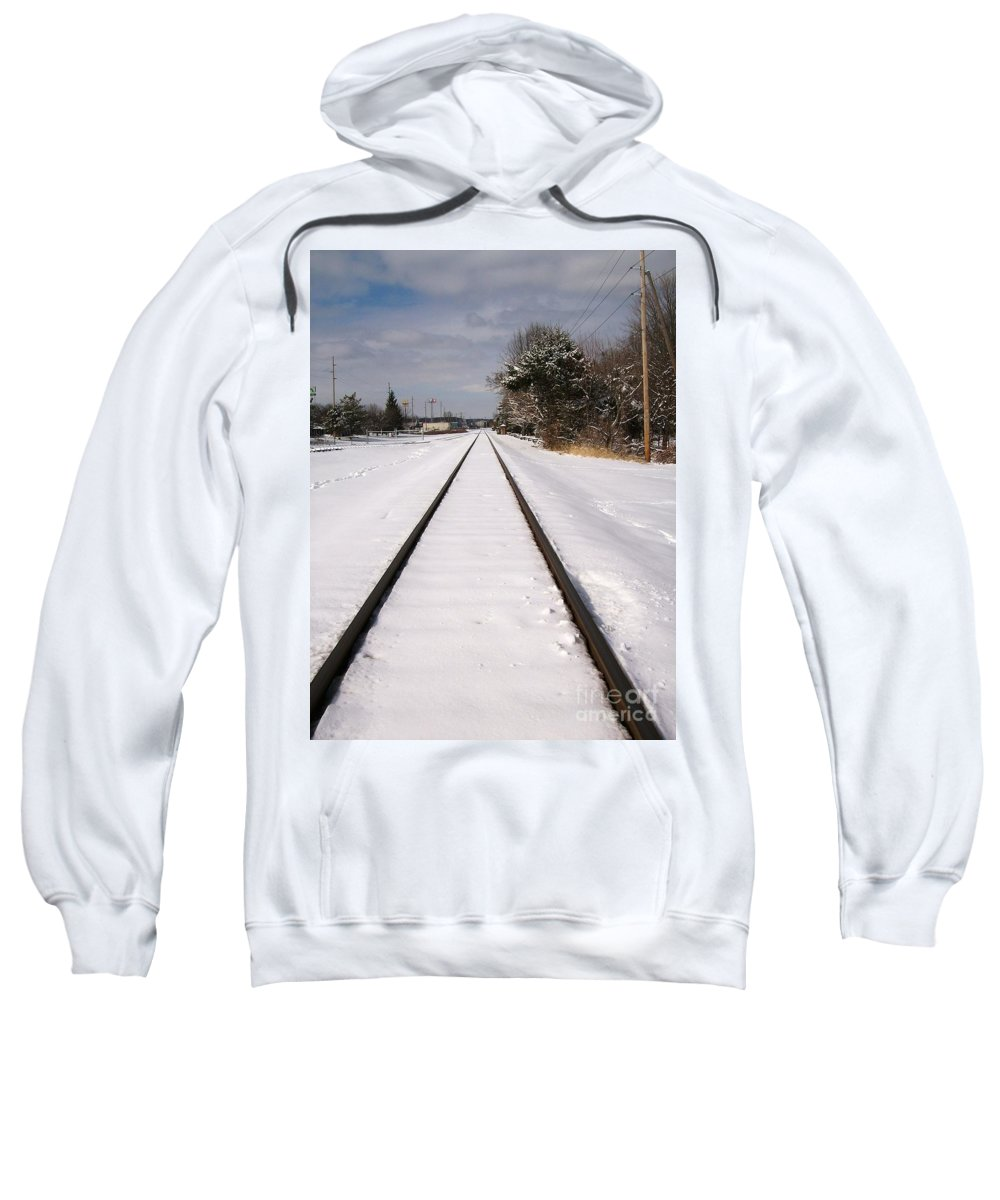 Railroad Sweatshirt featuring the photograph In The Distance by Sara Raber