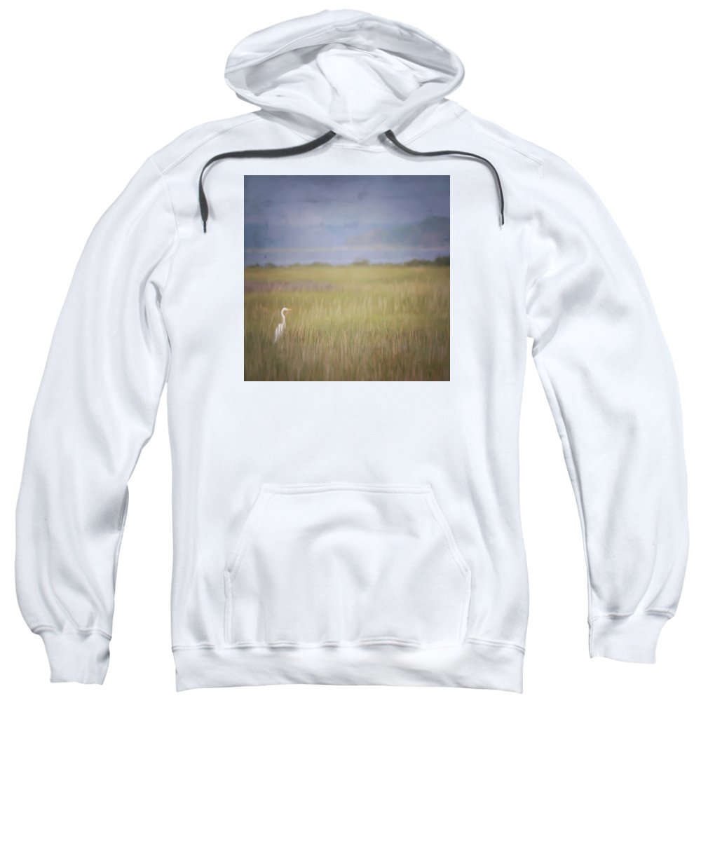 Egret Sweatshirt featuring the photograph In The Marsh by Kerri Farley