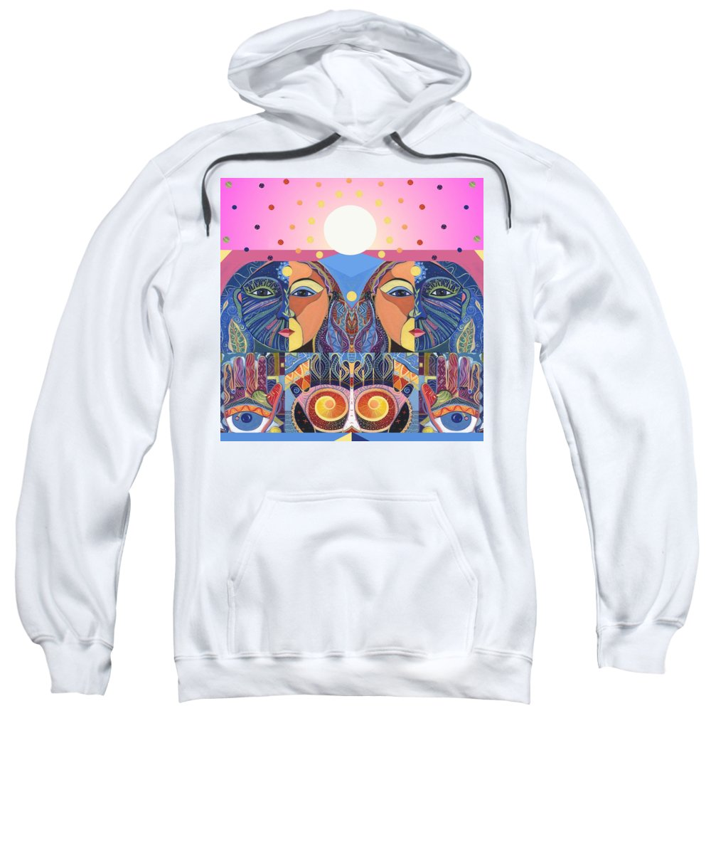 Figurative Abstraction Sweatshirt featuring the painting In Unity And Harmony by Helena Tiainen