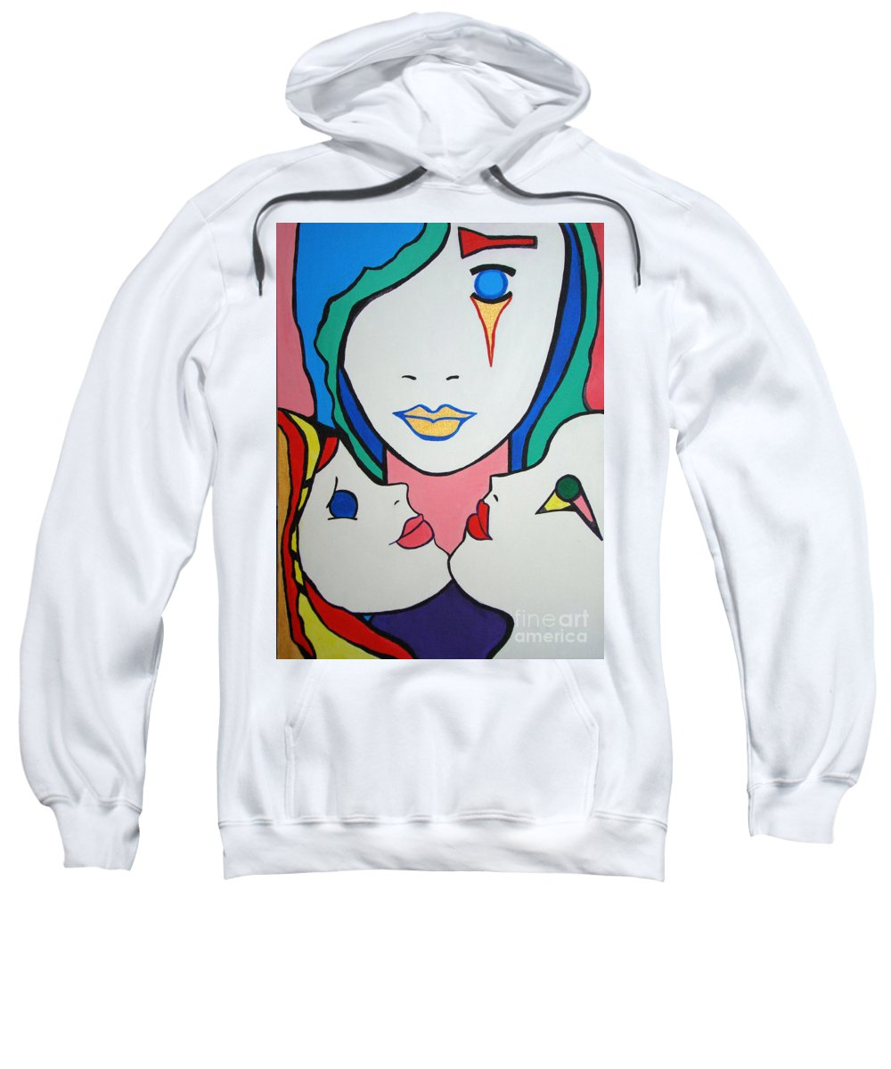 Pop-art Sweatshirt featuring the painting Innocence by Silvana Abel