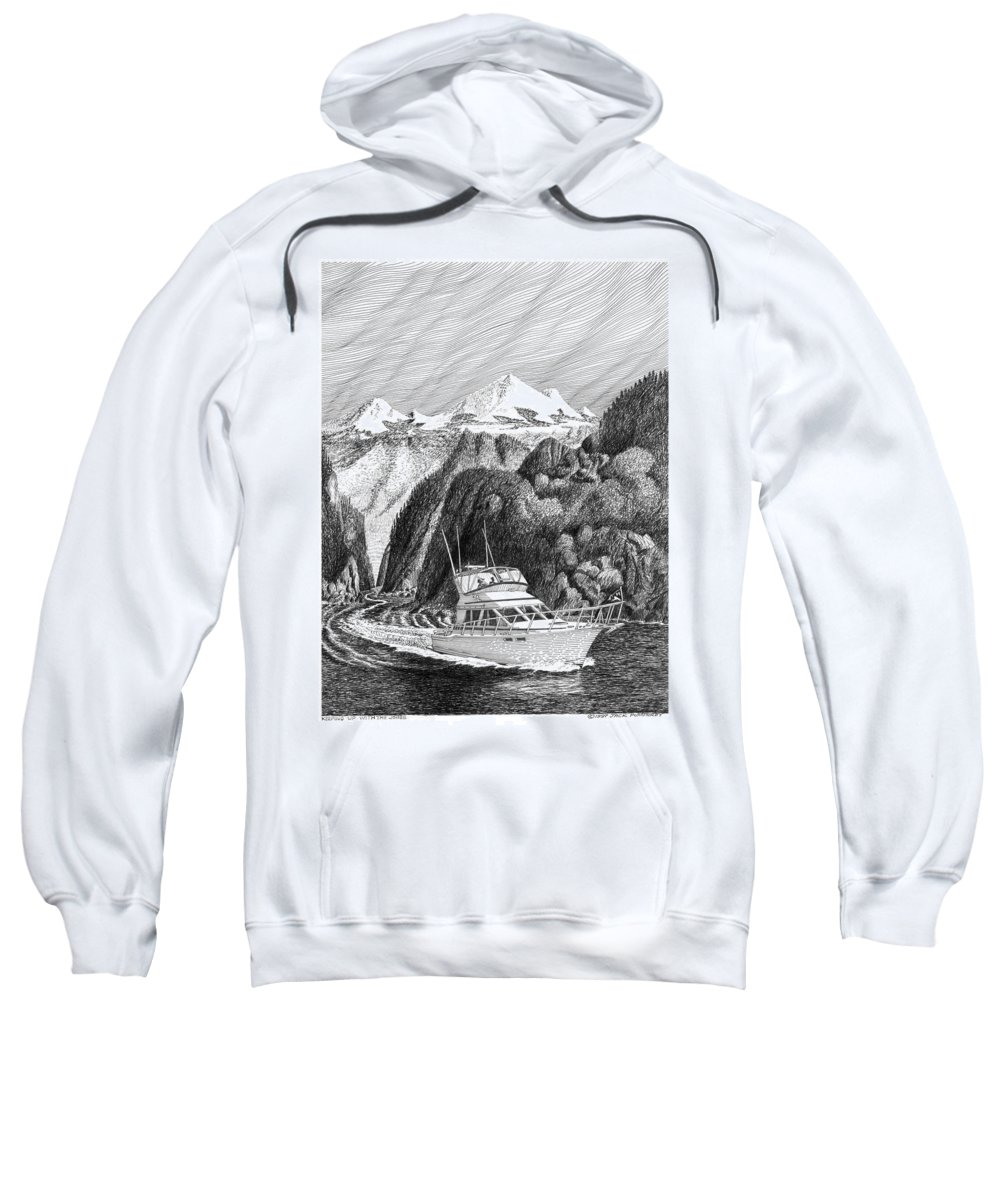 Yachting Sweatshirt featuring the drawing Cruising The Inside Passage by Jack Pumphrey