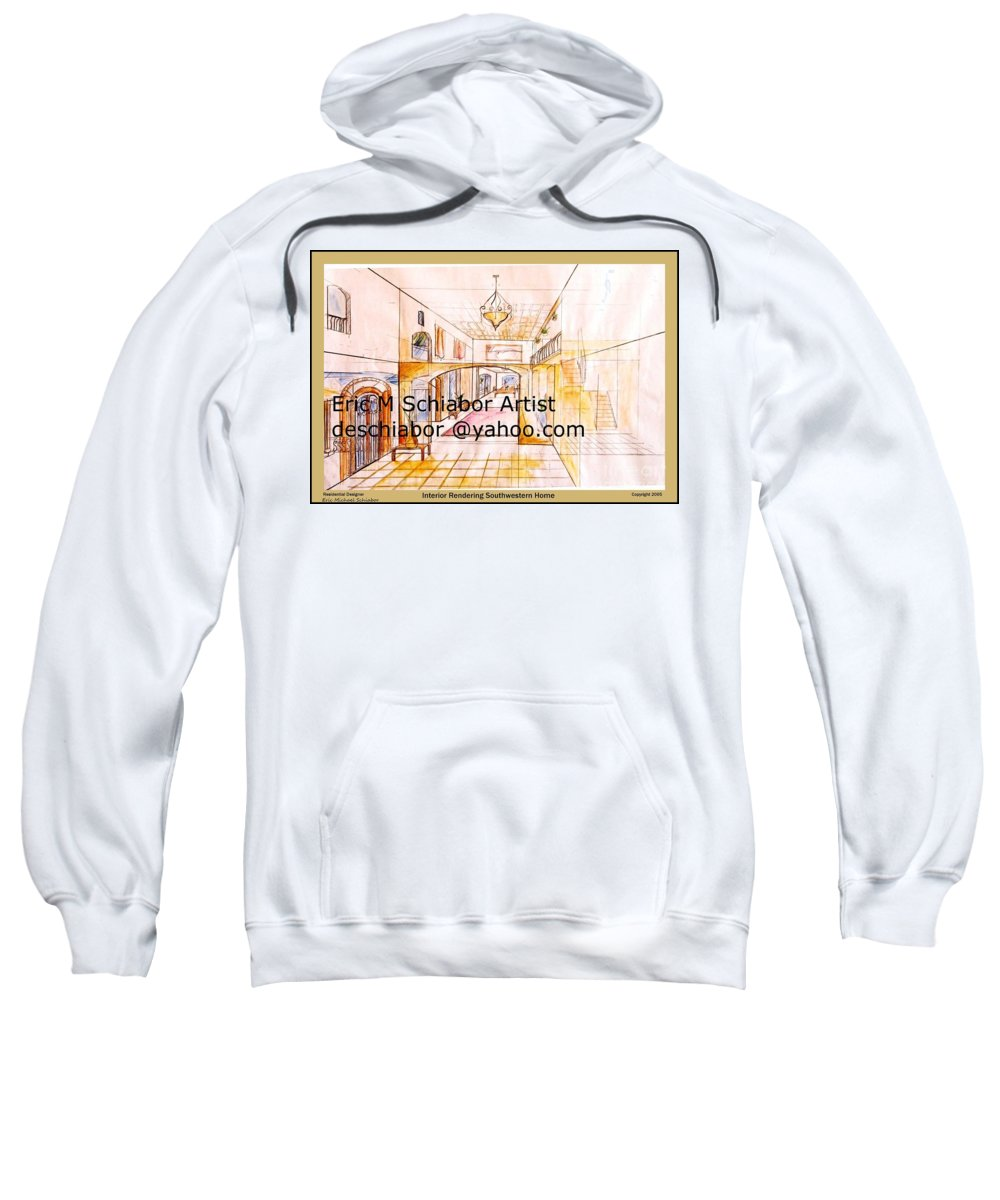 Interior Sweatshirt featuring the painting Interior Perspective by Eric Schiabor