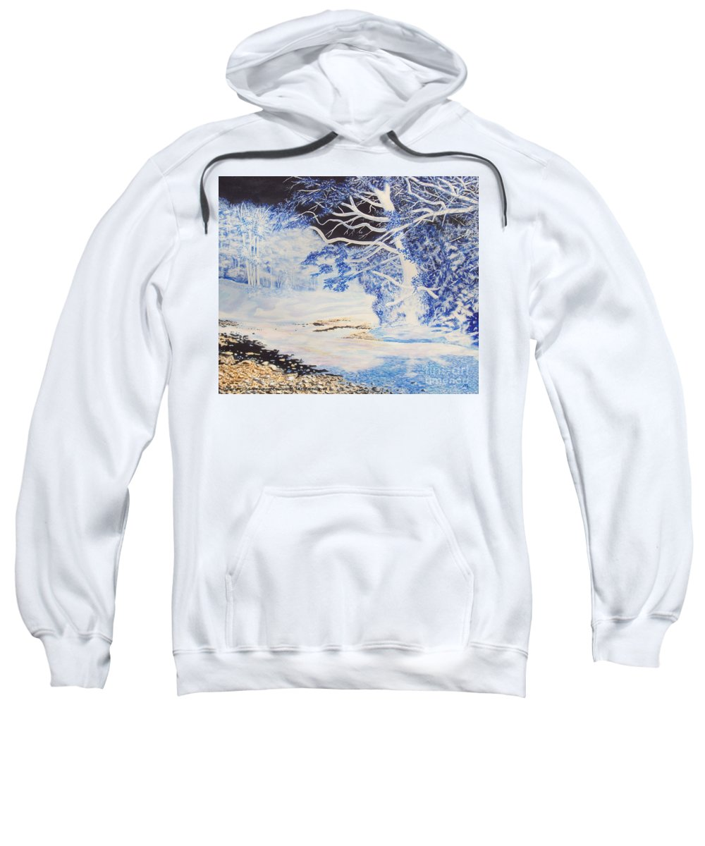 Inverted Lights Trawscoed Aberystwyth Sweatshirt featuring the painting Inverted Lights At Trawscoed Aberystwyth Welsh Landscape Abstract Art by Edward McNaught-Davis