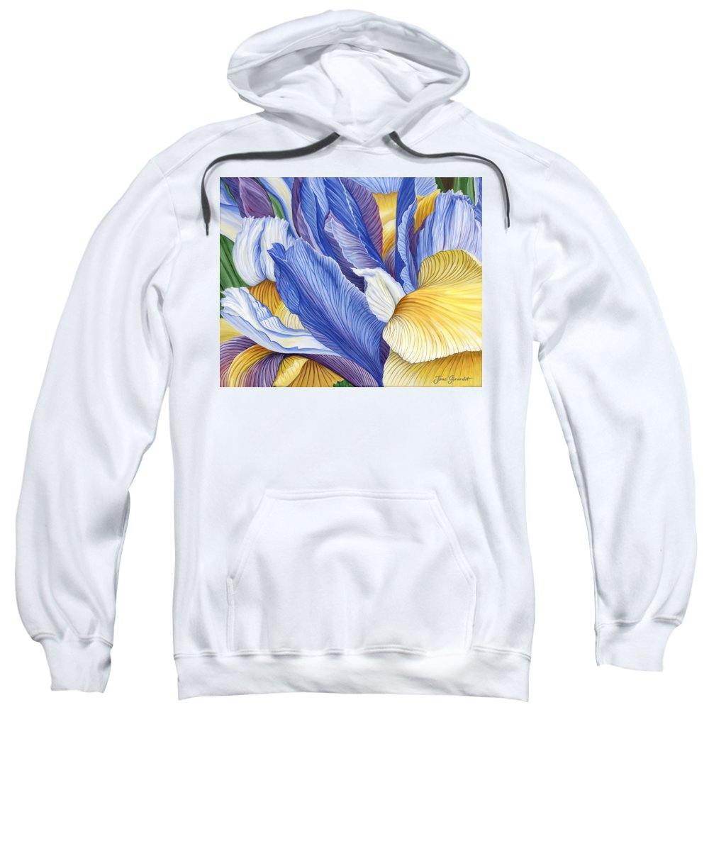 Iris Sweatshirt featuring the painting Iris by Jane Girardot