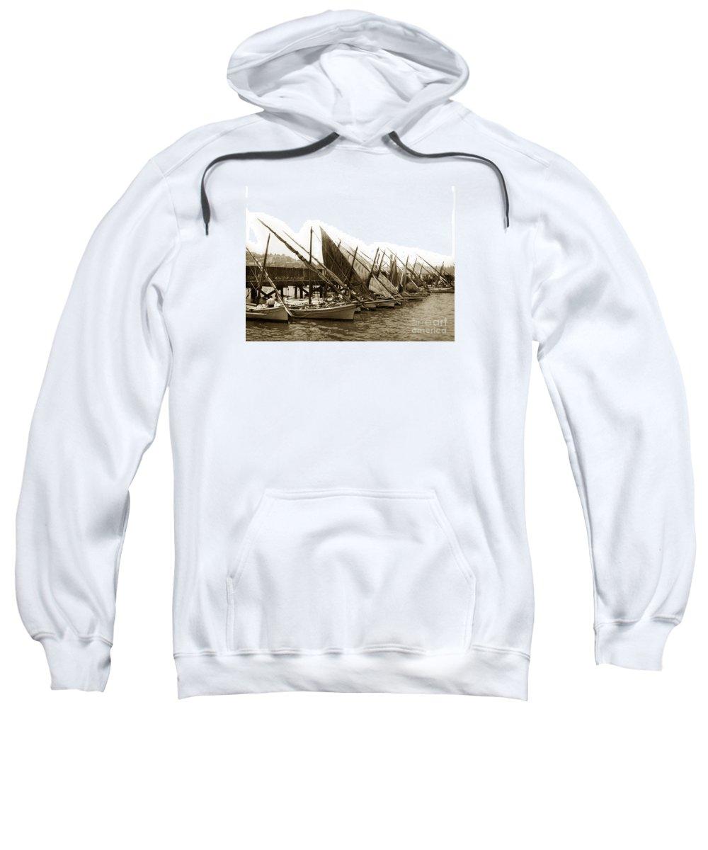 Italian Sweatshirt featuring the photograph Italian Fishing Boats Fishermen's Wharf San Francisco Circa 1903 by California Views Archives Mr Pat Hathaway Archives