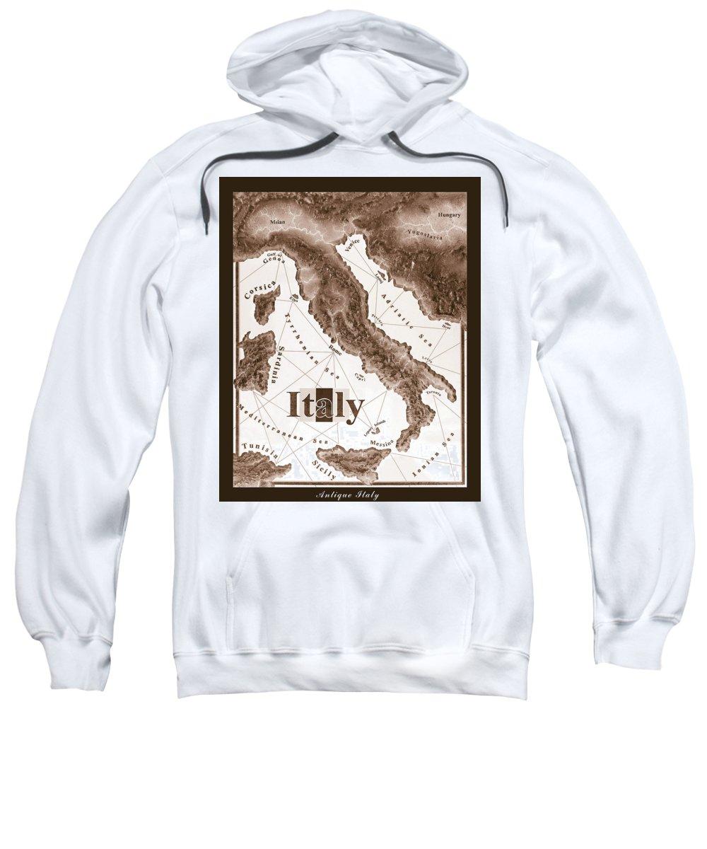 Italian Sweatshirt featuring the mixed media Italian Map by Curtiss Shaffer
