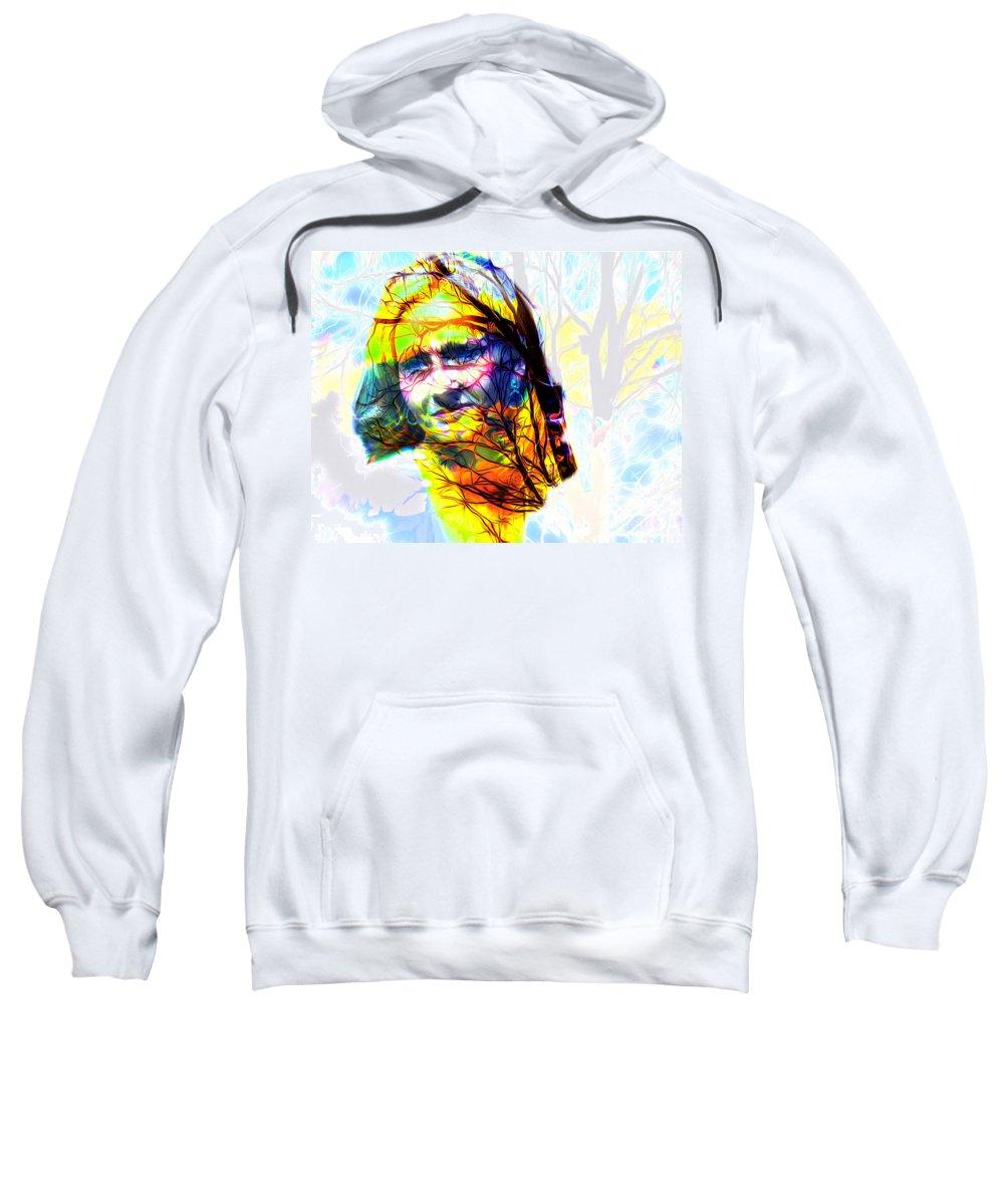 Famous Sweatshirt featuring the digital art J K Rowling by Algirdas Lukas