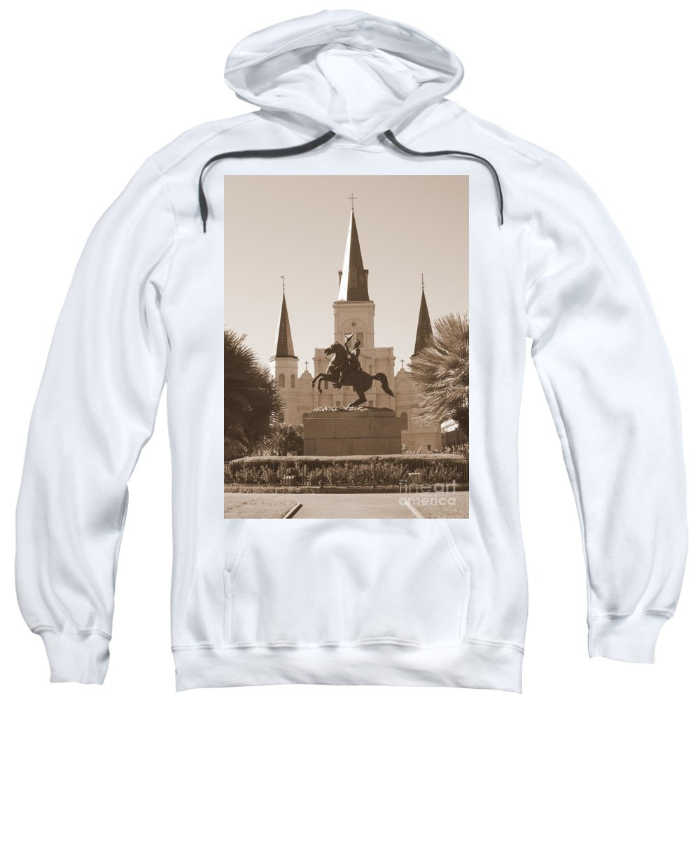 New Orleans Sweatshirt featuring the photograph Jackson Square Statue In Sepia by Carol Groenen