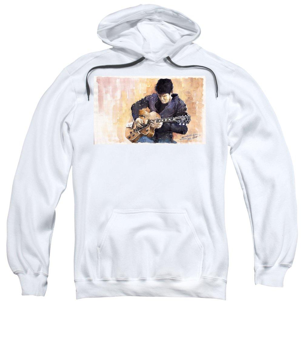 Gutarist Impressionist Instrument Jazz John Legend Mayer Music Musician Portret Rock Watercolour Sweatshirt featuring the painting Jazz Rock John Mayer 02 by Yuriy Shevchuk