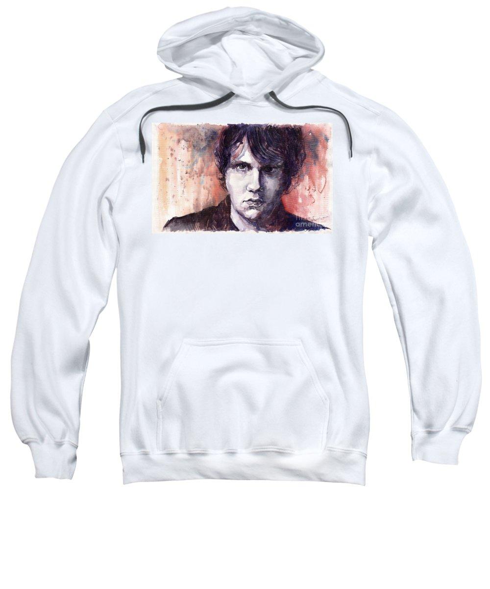 Jazz Sweatshirt featuring the painting Jazz Rock John Mayer by Yuriy Shevchuk