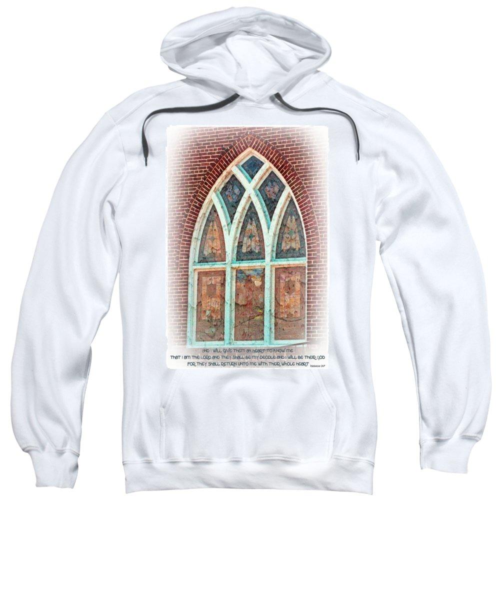 Jesus Sweatshirt featuring the digital art Jeremiah 24 7 by Michelle Greene Wheeler