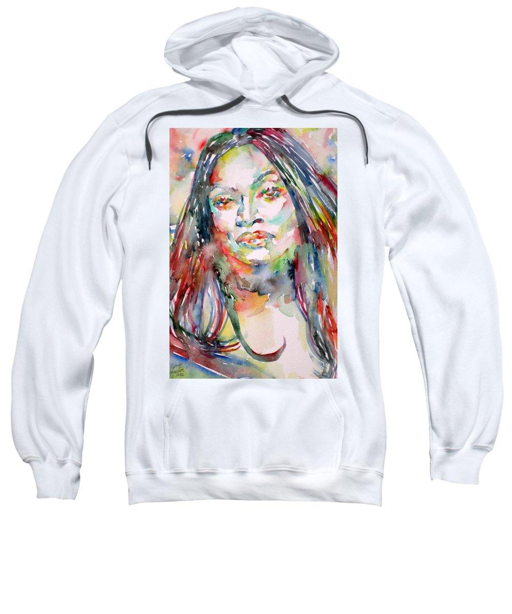 Jessye Sweatshirt featuring the painting Jessye Norman - Watercolor Portrait by Fabrizio Cassetta