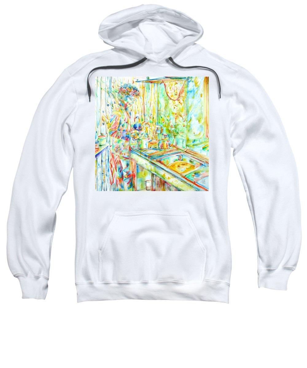 Jimi Sweatshirt featuring the painting Jimi Hendrix In The Kitchen Watercolor Portrait by Fabrizio Cassetta