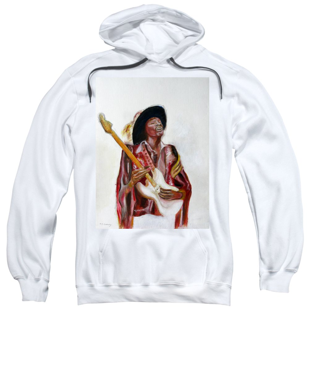 Jimi Hendrix Sweatshirt featuring the painting Jimi by Tom Conway
