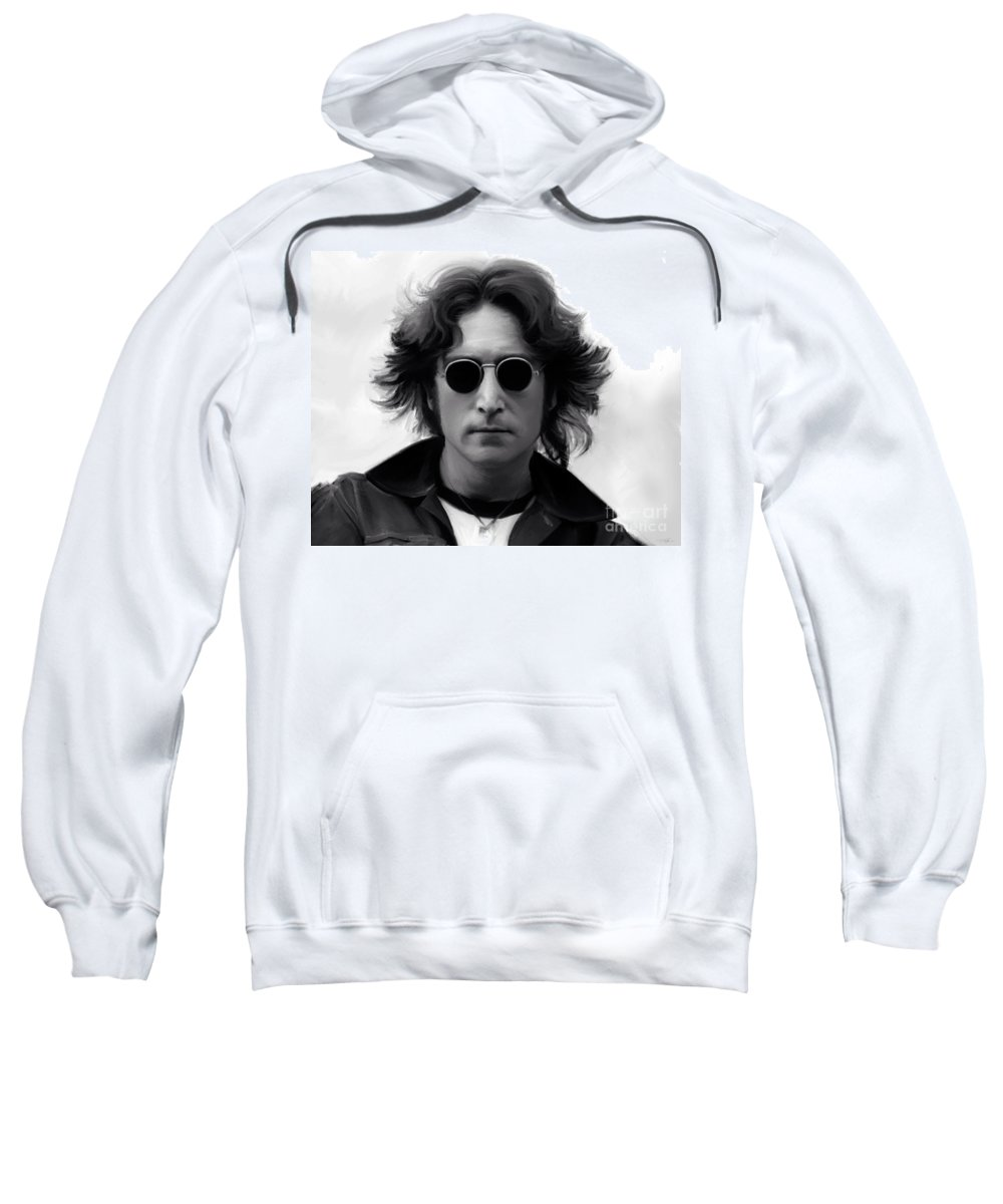 John Lennon Sweatshirt featuring the painting John Lennon by Paul Tag