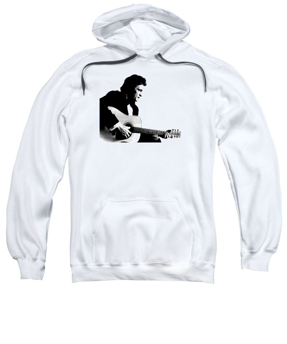 Johnny Cash Sweatshirt featuring the digital art Johnny Cash Man In Black by Jerry Gose Jr