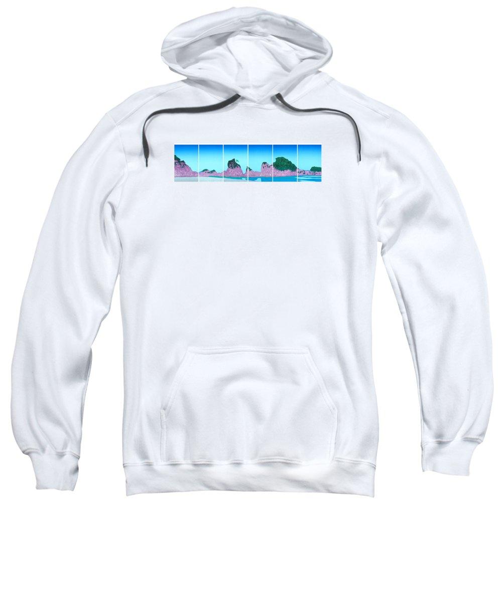 Landscape From Japan 21cm X 32 Cm X 6 Sweatshirt featuring the mixed media Joudogahama Beach by Jarle Rosseland