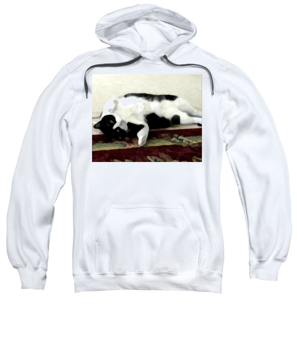 Black And White Sweatshirt featuring the photograph Joyful Kitty by Jeanne A Martin