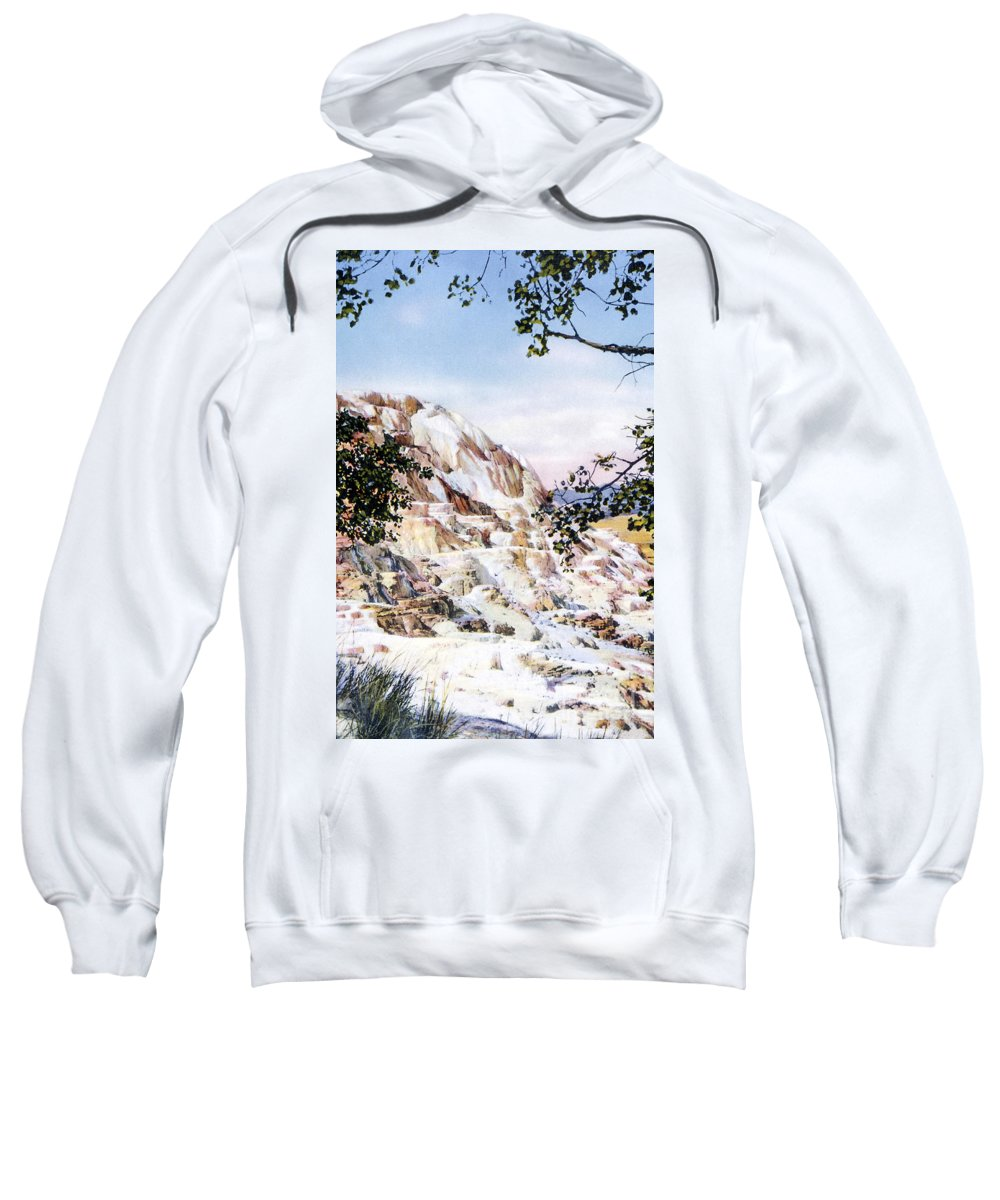 Jupiter Terrace Sweatshirt featuring the photograph Jupiter Terrace Yellowstone Np by NPS Photo Frank J Haynes