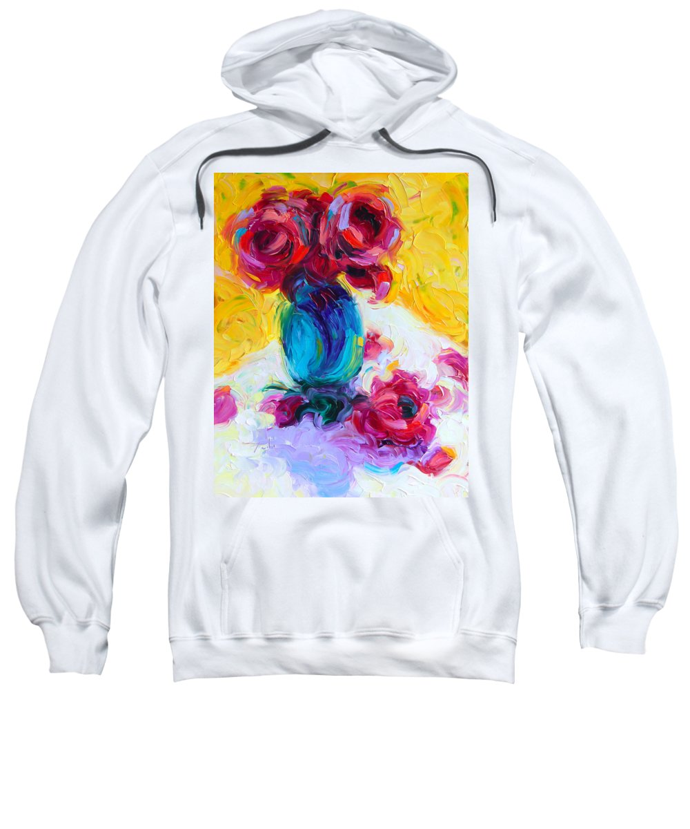 Rose Sweatshirt featuring the painting Just Past Bloom - Roses Still Life by Talya Johnson