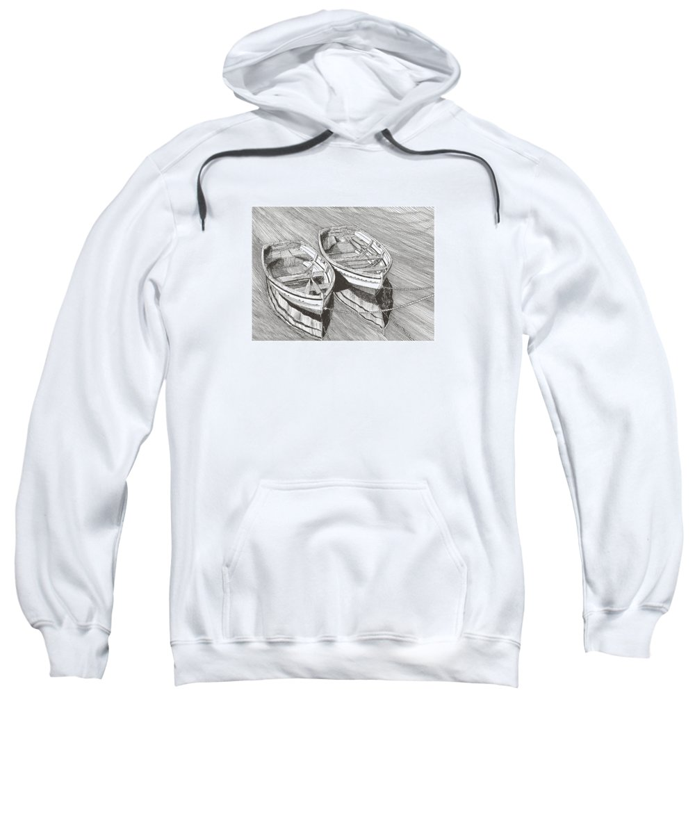 Pen @ Ink Dinghy Art Sweatshirt featuring the drawing Two Dinghy Friends Just The Two Of Us by Jack Pumphrey