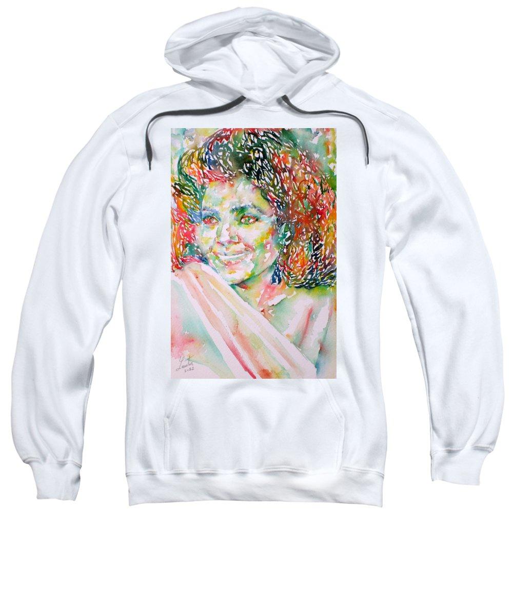 Kathleen Battle Sweatshirt featuring the painting Kathleen Battle - Watercolor Portrait by Fabrizio Cassetta