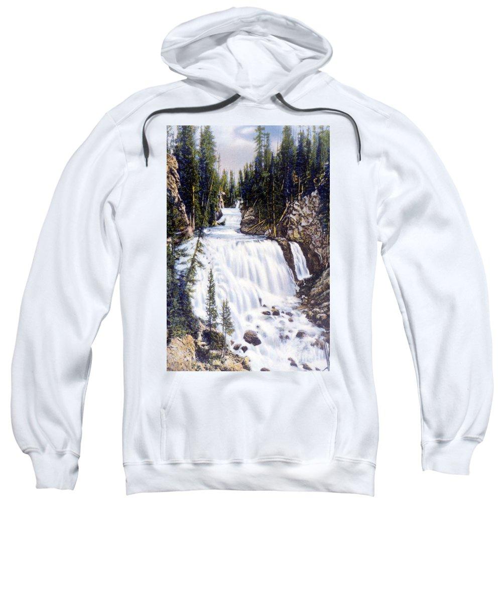 History Sweatshirt featuring the photograph Kepler Cascades Yellowstone National Park by NPS Photo Frank J Haynes