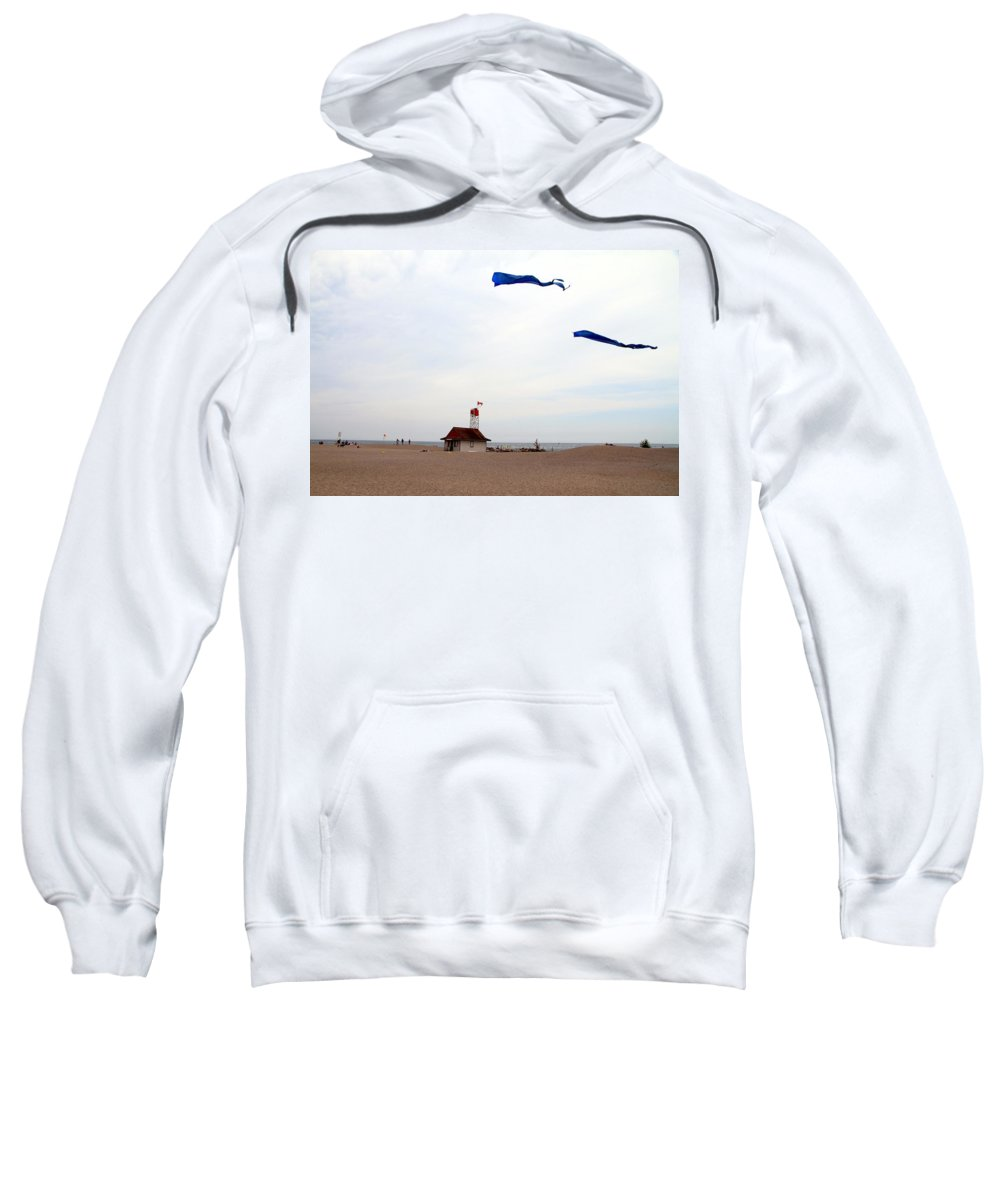 Lake Ontario Sweatshirt featuring the photograph Kites Over Lake Ontario Beach by Valentino Visentini