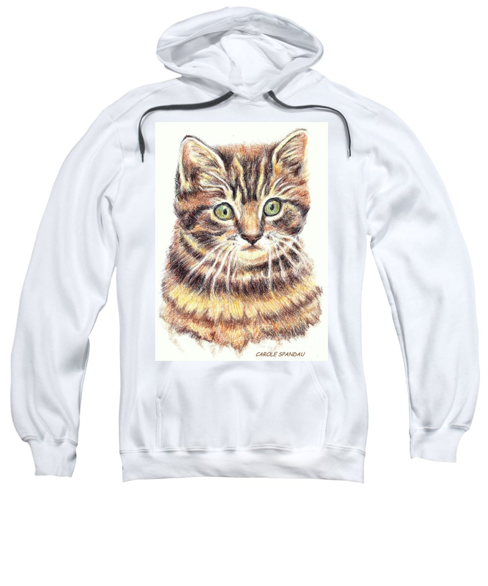Cats Sweatshirt featuring the painting Kitty Kat Iphone Cases Smart Phones Cells And Mobile Cases Carole Spandau Cbs Art 350 by Carole Spandau