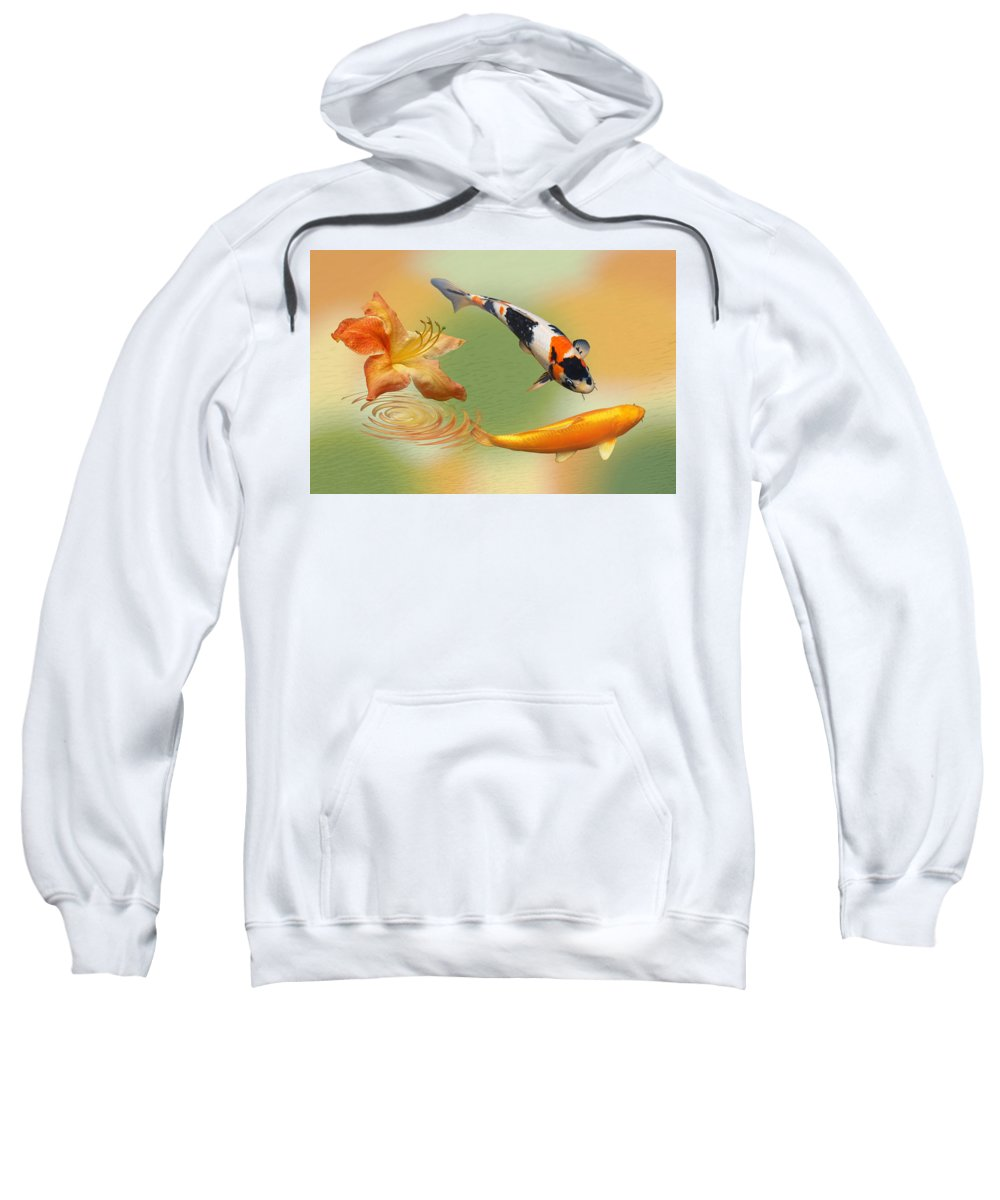 Fish Sweatshirt featuring the photograph Koi With Azalea Ripples Dreamscape by Gill Billington
