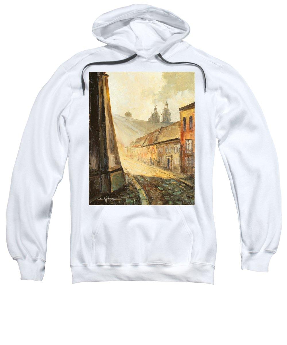Krakow Sweatshirt featuring the painting Krakow- Kanonicza Street by Luke Karcz