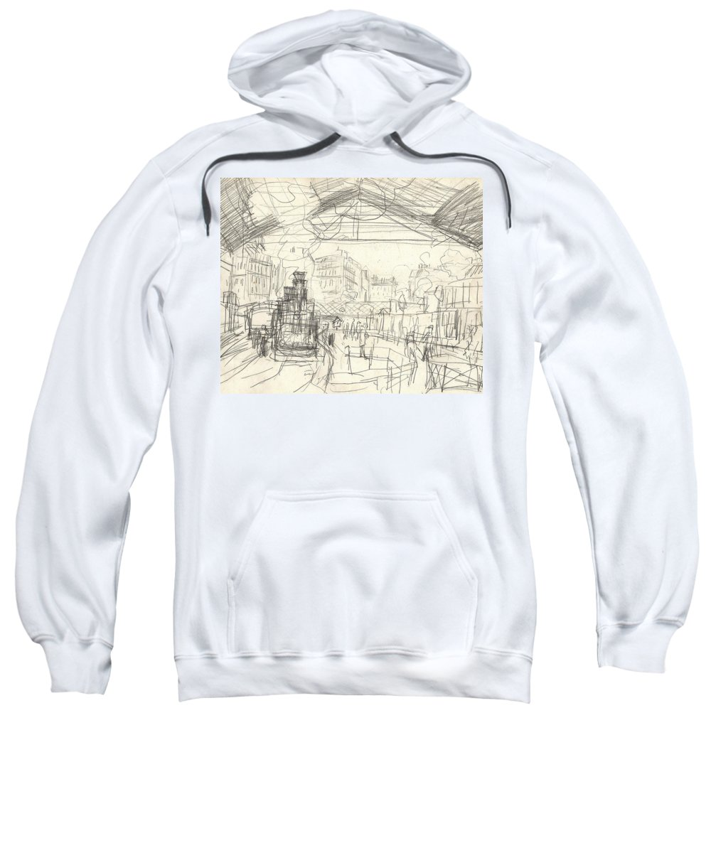 French Sweatshirt featuring the drawing La Gare Saint Lazare by Claude Monet