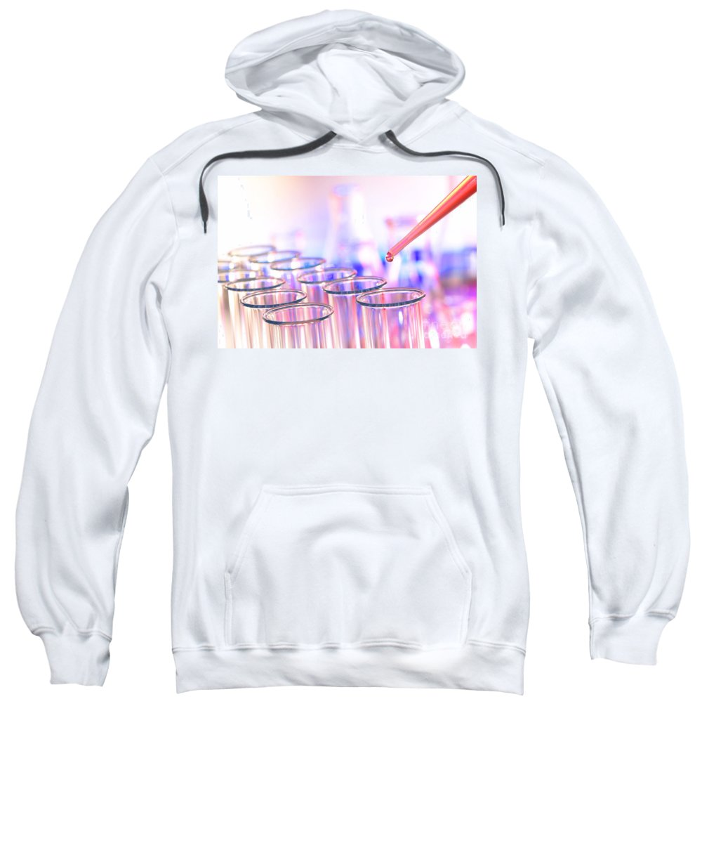 Analysis Sweatshirt featuring the photograph Laboratory Test Tubes In Science Research Lab by Olivier Le Queinec
