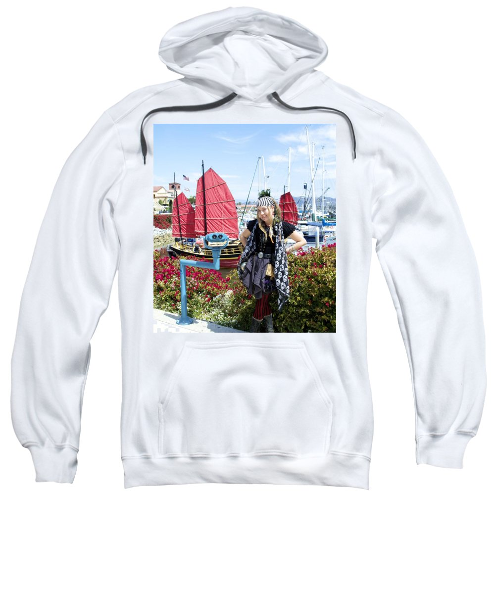 The Lady Pirate Sweatshirt featuring the photograph Lady Pirate And Friend by Floyd Snyder