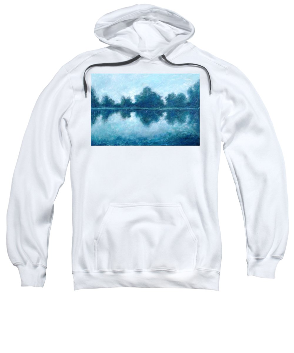 Lake Sweatshirt featuring the painting Lake In The Morning by Cristina Stefan
