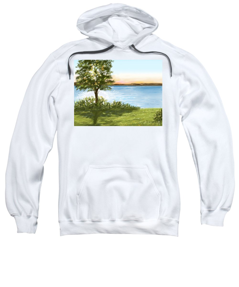 Trees Sweatshirt featuring the painting Lake by Veronica Minozzi