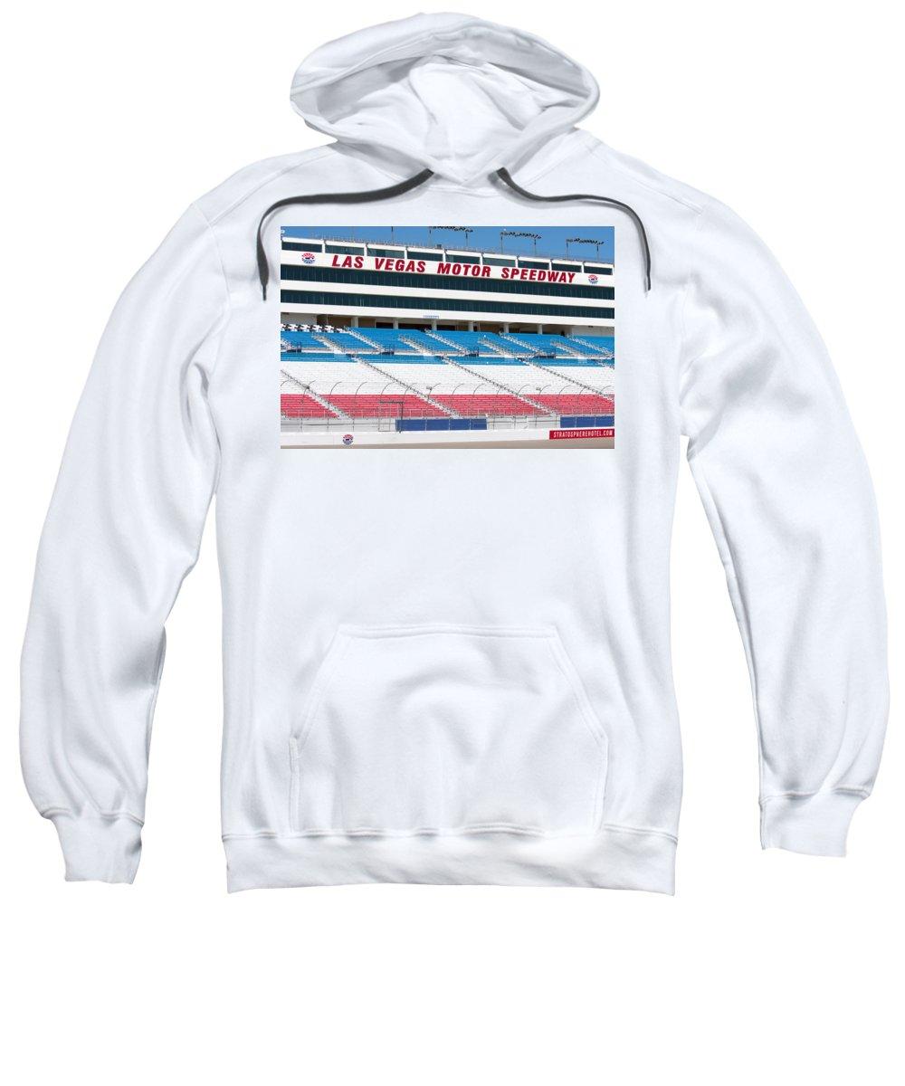 Bleachers Sweatshirt featuring the photograph Las Vegas Speedway Grandstands by Gunter Nezhoda